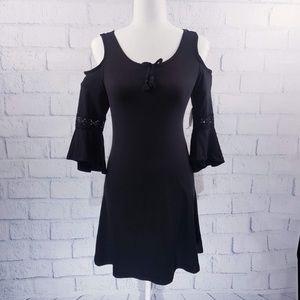 1st Kiss black cold shoulder dress